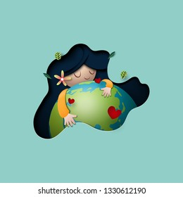 Paper art of mother earth day concept and nature background template.Ecology and environment conservation creative idea concept.Vector illustration.