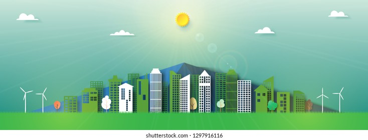 Paper art of nature landscape and green city background template.Save energy for ecology and environment conservation creative idea concept.Vector illustration.