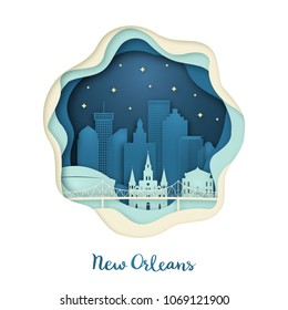 Paper art of New Orlean. Origami concept. Night city with stars. Vector illustration.