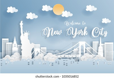 Paper art with New York city, with building, and New York city famous landmarks with blue sky. Welcome to New York city Text. Vector illustration.