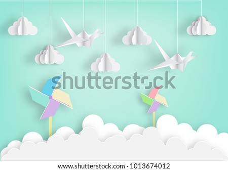 Paper Art Origami Mobile Concept Vector Stock Vector Royalty Free
