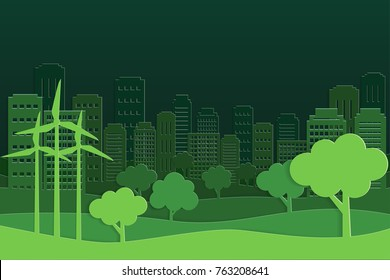 Paper art and park on green town shape, vector art and illustration.
