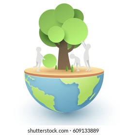 Paper art of people try to set up and build a tree, world sustainable environment friendly concept, vector art and illustration.
