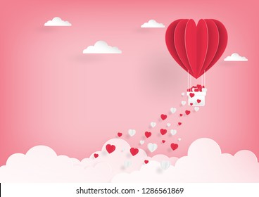 Paper art of pink balloon flying on the sky and scatter heart in the sky, vector art and illustration of love and valentine, Digital paper craft style.