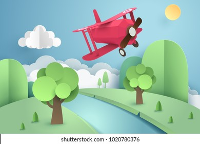 Paper art of pink plane flying above forest and river, origami and travel concept, vector art and illustration.