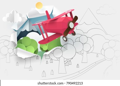 Paper art of pink plane flying through paper of hand drawing forest and river, origami and world sustainable environment friendly idea, vector art and illustration.