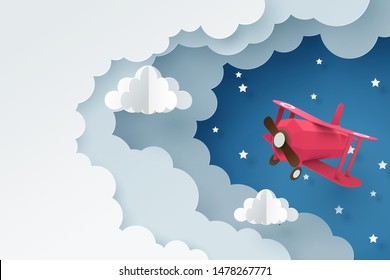 Paper art of plane flying through cloud at night, paper art concept and tourism idea, vector art and illustration.