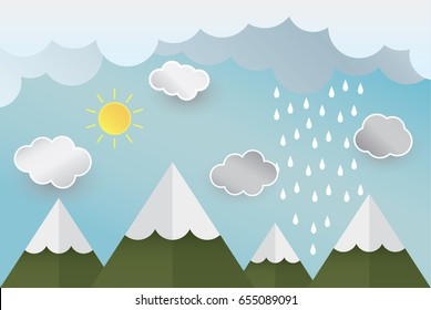Paper art  rain sun mountain cloud  in the sky concept, vector and illustration