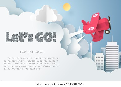 Paper art of red air plane flying out from cloud with let's go text and copy space, Origami idea and start up or adventure concept, vector art and illustration.