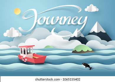 Paper art of red boat and journey calligraphy lettering, origami and travel concept, vector art and illustration.