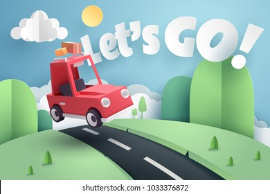 Paper art of red car jumping on mound with Let's go text, origami and travel concept, vector art and illustration.