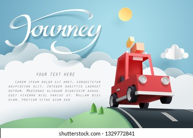 Paper art of red car jumping on mound, origami and travel concept, vector art and illustration.