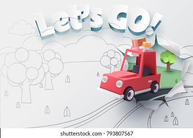 Paper art of red car jumping out from 2D sketch to be 3D paper with ripped let's go text, Origami idea and start up or adventure concept, vector art and illustration.
