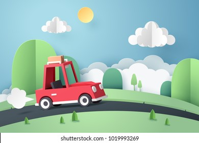 Paper art of red car move along country road near mountain, origami and travel concept, vector art and illustration.