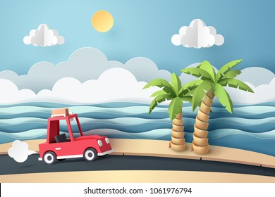 Paper art of red car move along country road at the beach, origami and travel concept, vector art and illustration.