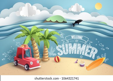 Paper art of red car park at beach with welcome summer text, origami and travel concept, vector art and illustration.
