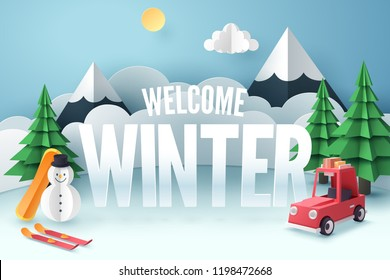Paper art of red car park at snow field with welcome Winter text, origami and travel concept, vector art and illustration.