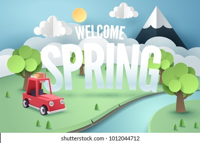 Paper art of red car stop at a park near river and mountain with welcome Spring, origami and travel concept, vector art and illustration.