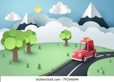 Paper art of red car stop at country road near forest and mountain, origami and travel concept, vector art and illustration.