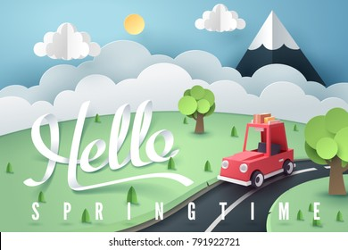 Paper art of red car stop at country road near forest and mountain with Hello Spring calligraphy hand lettering, origami and travel concept, vector art and illustration.