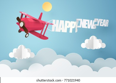 Paper art of red plane pull a happy new year flag flying in the sky, vector art and illustration.