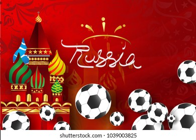 Paper art of Russian Soccer with modern and traditional elements, Vector Design for background,greeting cards, flyers, invitations, posters, brochures, banners,calendars, wallpaper,