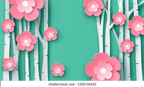 Paper art of sakura tree and cherry blossom in spring forest with place for your text space. Graphic design for spring. paper cut and craft style. vector, illustration. - Shutterstock ID 1336726253