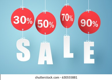 Paper art of Sale mobile hanging on sky, shopping and business promotion concept, vector art and illustration.