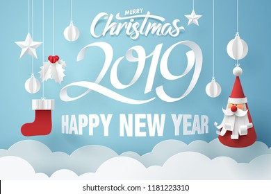 Paper art of Santa Claus hanging in the sky with merry Christmas and happy new year 2019 wording, vector art an d illustration.