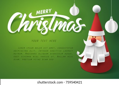Paper art of Santa claus with Merry Chirstmas calligraphy, vector art and illustration.