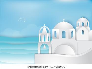 Paper art of Santorini in Aegean sea background. Paper cut, Paper crart illustration