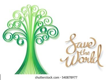 Paper art of Save the world and a tree, world sustainable environment friendly concept with quilling style, vector art and illustration.