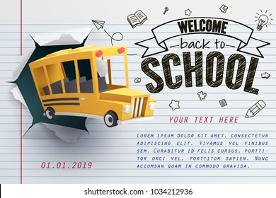 Paper art of school bus jumping out from notepad, back to school concept, vector art and illustration.