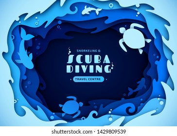 Paper art of scuba diving, snorkeling and marine life concept. Origami of cut out layers cardboard of underwater world and ocean wildlife: reef, sea waves and fishes. Creative vector poster