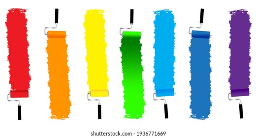 Paper art set with rollers multicolored. Vector art illustration. Colorful rainbow. Stock image. EPS 10.