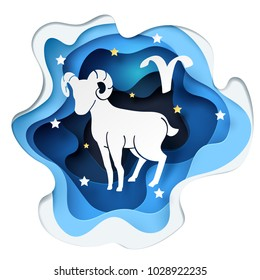 Paper art of sheep to Aries and Ram of zodiac and horoscope concept, vector art and illustration.