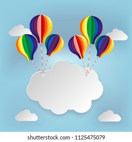 Paper art signboard cloud on sky with colorful balloon. Vector illustration