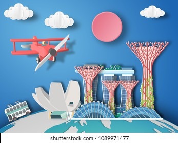Paper art singapore infographic . Airplane flying to Singapore.