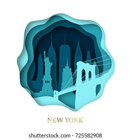 Paper art of skyline New York city. Origami concept. Vector illustration.