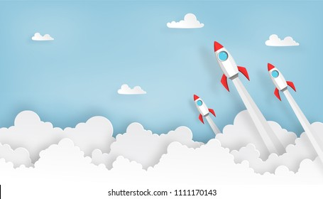 paper art of space rocket launch to the sky in startup concept of business or project. vector illustrator