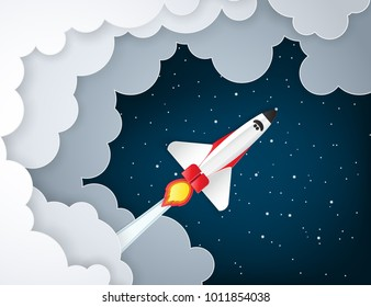Paper art of space shuttle launch to the sky. Night sky, shining stars, fluffy clouds. Rocket launch. Start up business concept and exploration idea