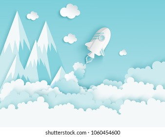 Paper art of space shuttle launch to the sky. Blue sky, paper clouds, mountains. Rocket launch. Start up business concept and exploration idea
