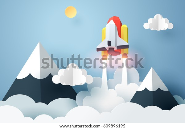 Paper art of space shuttle launch to the sky, start up business concept and exploration idea, vector art and illustration.