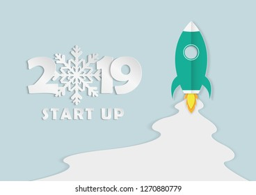 Paper art of spacecraft in the air and start up project Business Concept Vector. 2019 Start Up on colored pastel background.