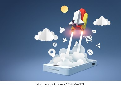 Paper art of spaceship launch from mobile phone, social media marketing concept and start up business idea, vector art and illustration.