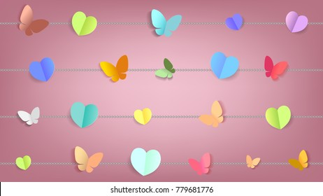 Paper art style, Abstract hearts shape and butterflies background for Valentine's Day concept. Vector illustration eps10