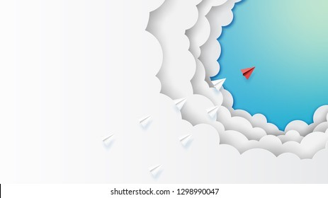 Paper art style of business leadership and teamwork creative concept idea.Paper airplanes flying on clouds and blue sky.Vector illustration.