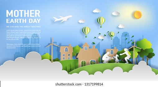 Paper art style of family enjoy fresh air in the park with baby to make first steps on grass, eco green city, world environment and earth day concept, flat-style vector illustration.