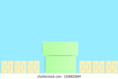 Paper Art Style Green Pipe with brick Isolate on Blue Background ,Retro Game Background.