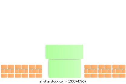Paper Art Style Green Pipe with brick Isolate on white background ,Retro Game Background.